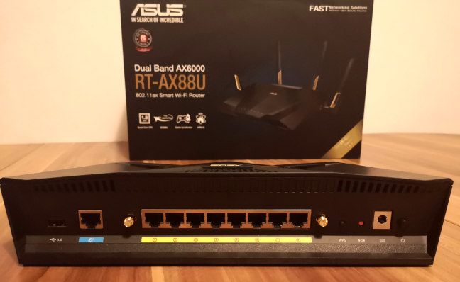 The ports on the back of the ASUS RT-AX88U