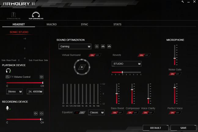 Armoury II Sonic Studio customization options for ASUS TUF Gaming H5