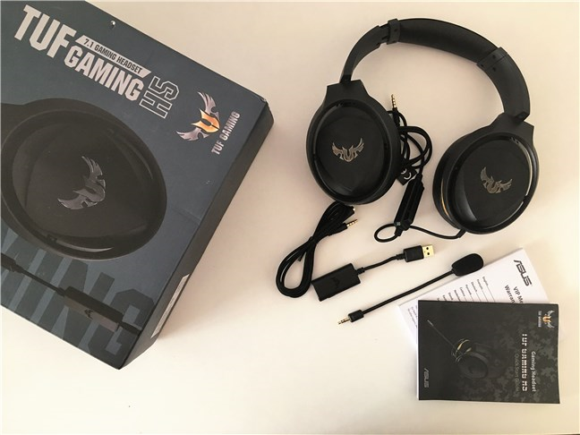 The package contents for the ASUS TUF Gaming H5 headset