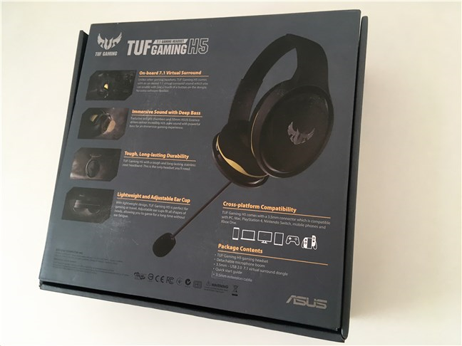 The ASUS TUF Gaming H5 headset package from the back
