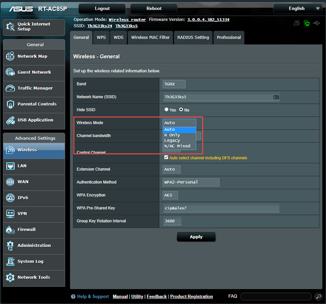 ASUS firmware - Set the wireless mode