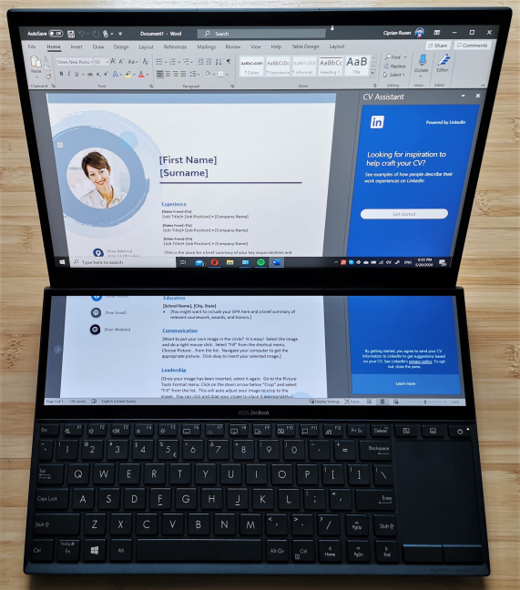 Working with large documents on the ASUS ZenBook Duo