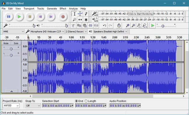 play, song, reverse, Audacity, mp3, Windows