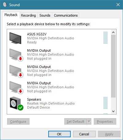 The Sound window from Windows 10