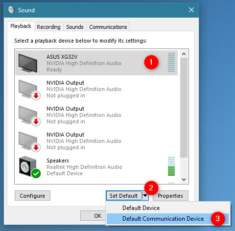Setting a default communication device in Windows 10