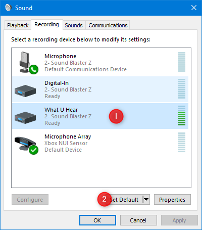 Setting the default recording device in the Sound window