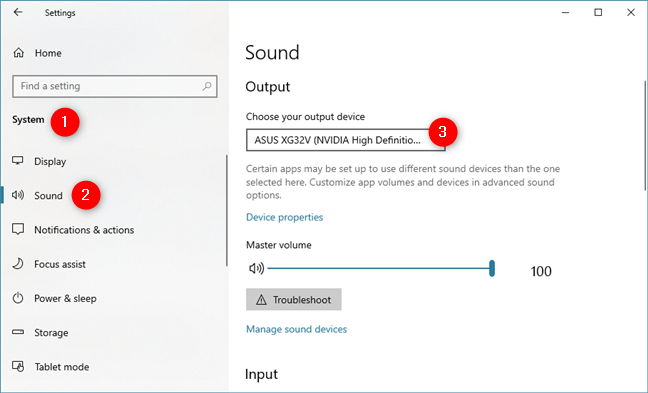 The Choose your output device list from the Settings Sound section