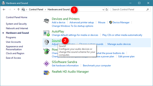 Click Sound in Hardware and Sound section of the Control Panel