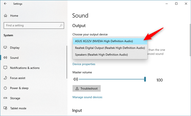 Choosing the default playback device
