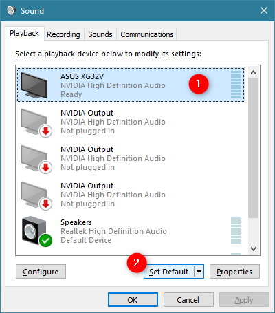 Choosing the default playback device in the Sound window