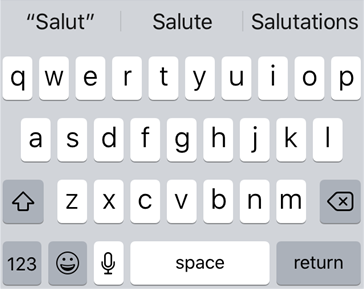 Word predictions displayed by iOS on an iPhone