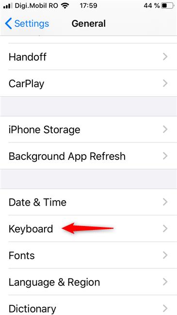 The Keyboard settings on an iPhone