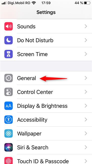 The General entry from the Settings app