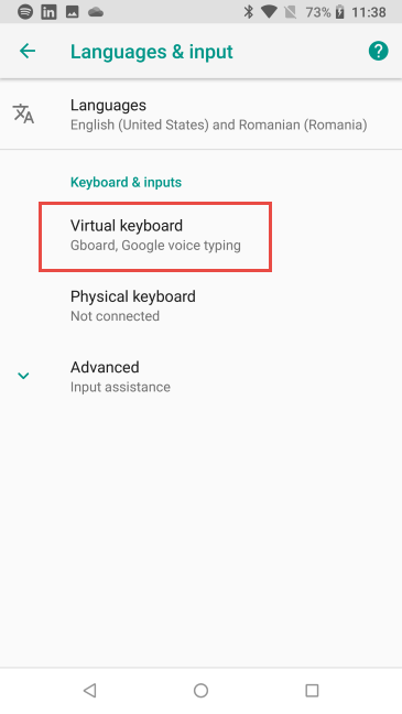 Toque el teclado virtual en Android 8 Oreo