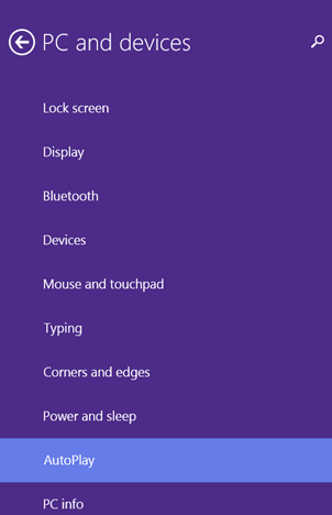 AutoPlay, settings, media, devices, Windows 8.1