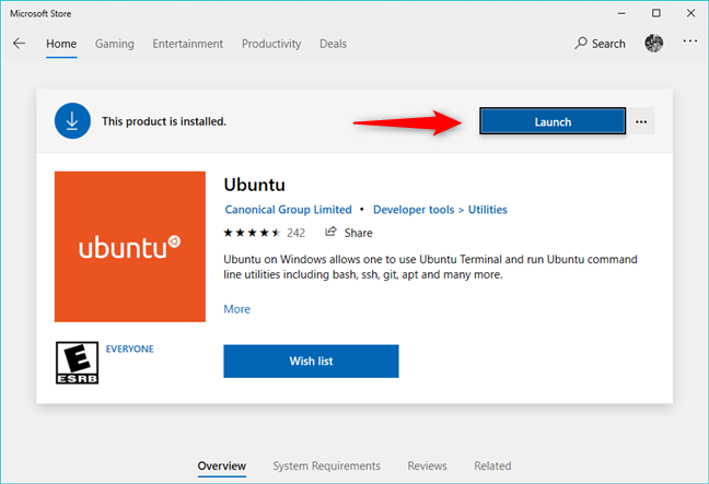 Ubuntu on Windows, installed from the Microsoft Store