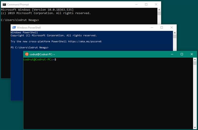 Símbolo del sistema frente a PowerShell frente a Bash en Ubuntu en Windows