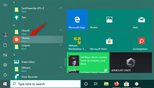 Ubuntu tiene un atajo en el menú de inicio de Windows 10