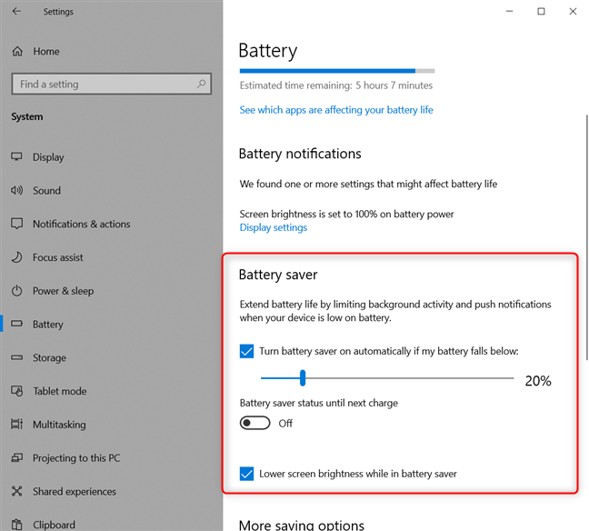 Configuring the Windows 10 battery saver