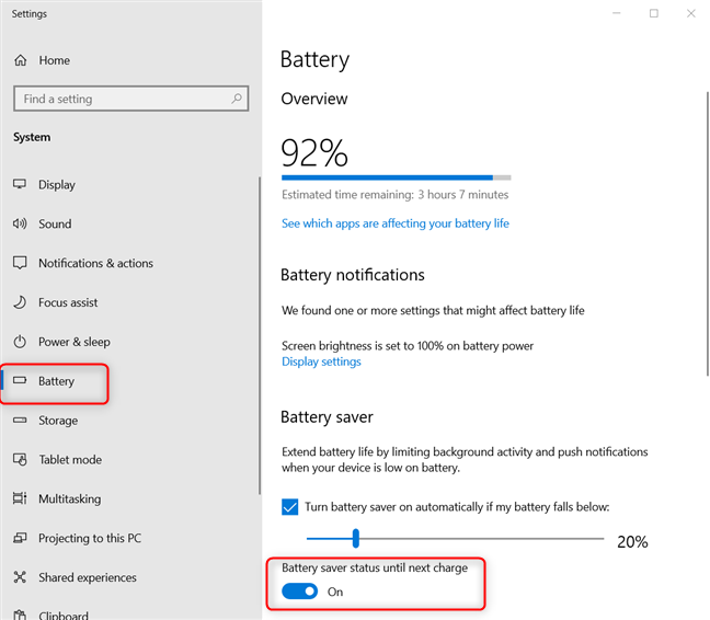 Turning on the battery saver in Windows 10