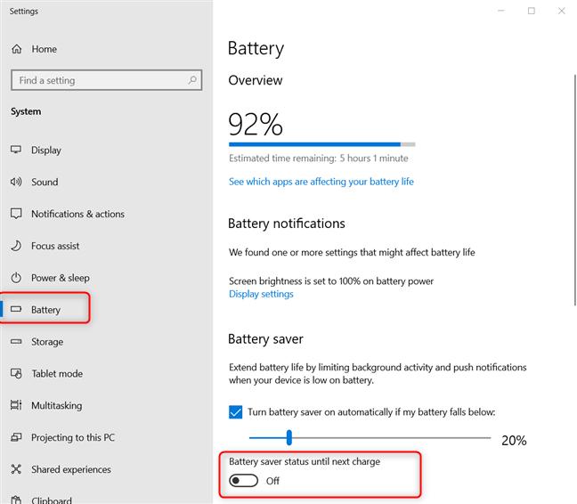 Disabling the Windows 10 battery saver