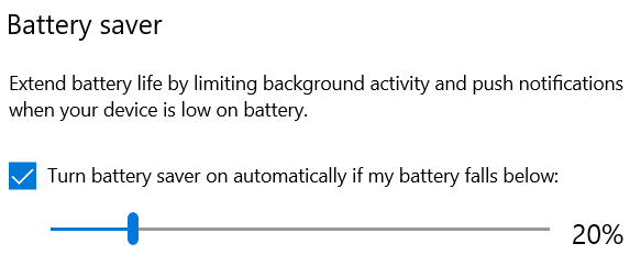 The battery saver in Windows 10