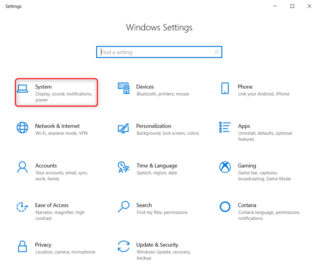 Accessing System settings in Windows 10
