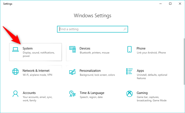 The System entry from the Windows 10 Settings app