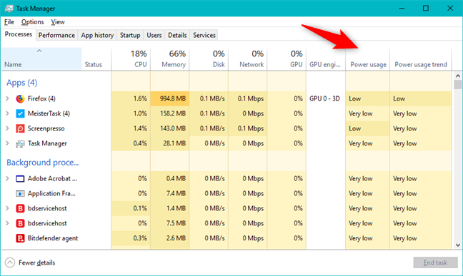 The Power usage and Power usage trend columns from the Task Manager
