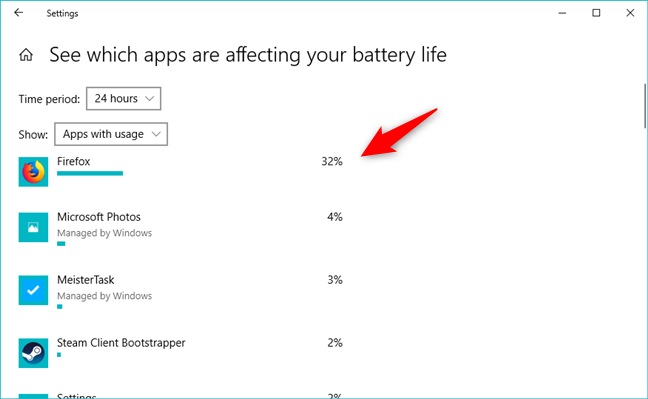 Apps showing their battery usage in percents