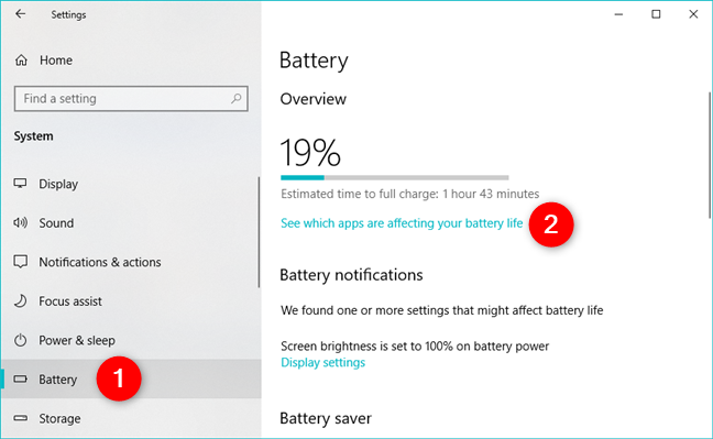 See which apps are affecting your battery life in Windows 10