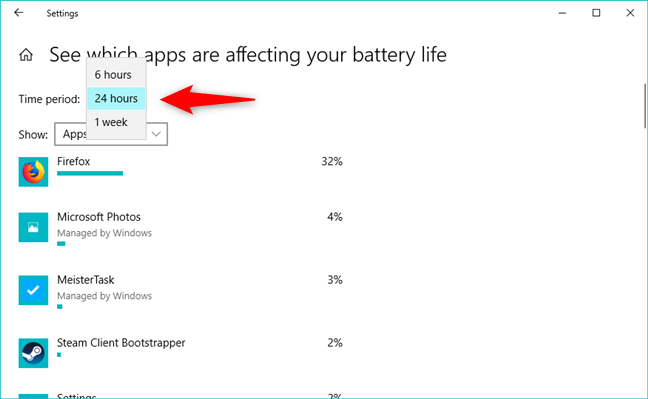 The time period for which the battery usage is calculated