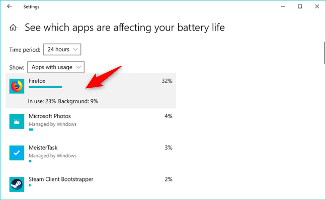 Details of battery usage by an app