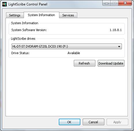 LightScribe Control Panel