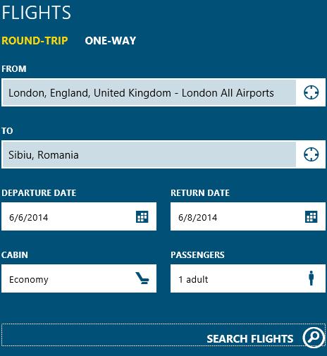 Windows 8.1, Travel, app, Bing, search flights, search hotels, destinations