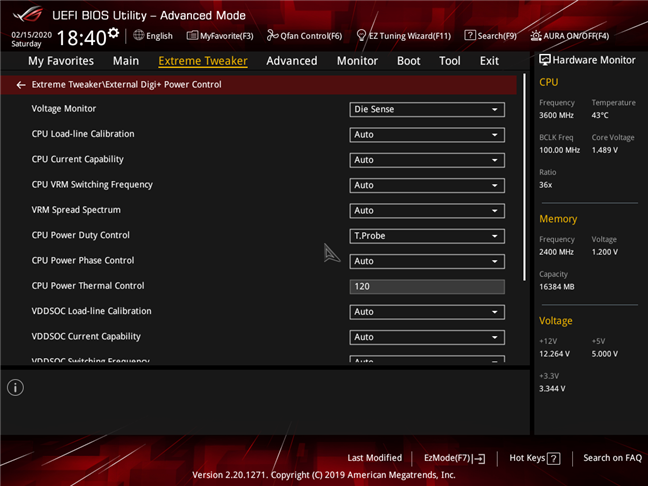 Advanced CPU settings available in the BIOS of a gaming motherboard