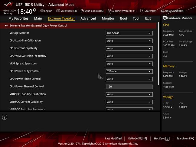 Configuración avanzada de CPU disponible en el BIOS de una placa base para juegos