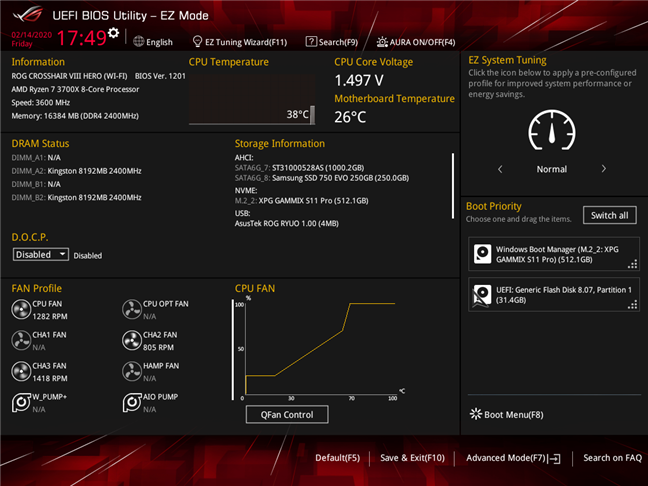 BIOS on a gaming motherboard