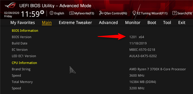 La versión BIOS de una placa base ASUS