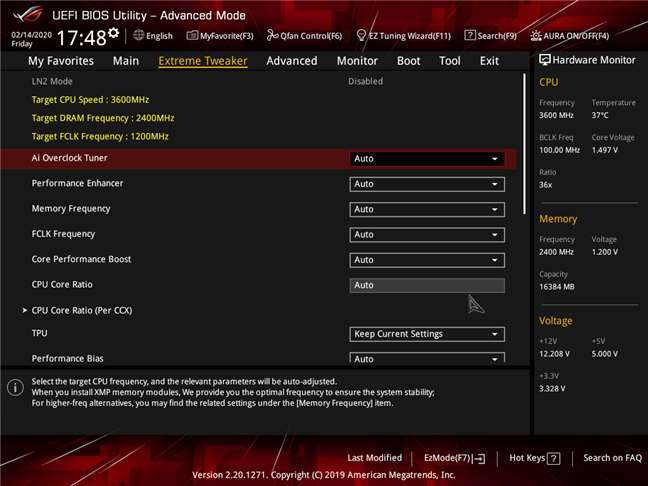 Advanced settings available on an advanced gaming motherboard