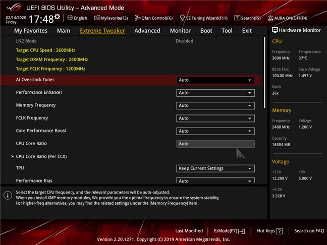 Configuración avanzada disponible en una placa base para juegos avanzada