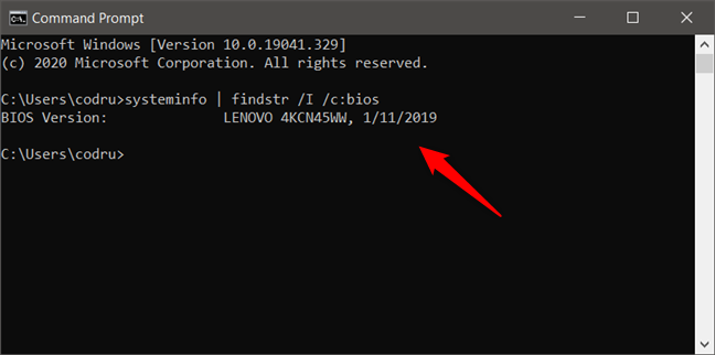 Find BIOS version and date using systeminfo