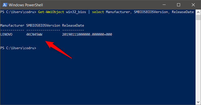 How to check BIOS version and date from PowerShell