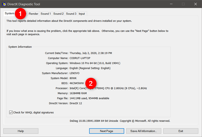 Check BIOS version in Windows 10 using DirectX Diagnostic Tool