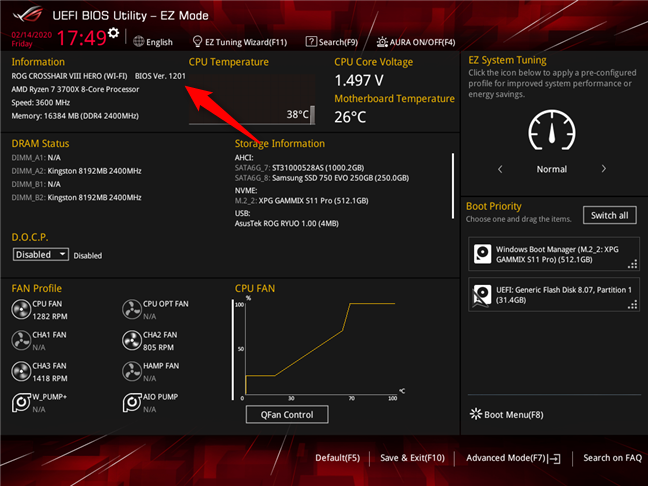 Checking the BIOS version on an ASUS ROG motherboard