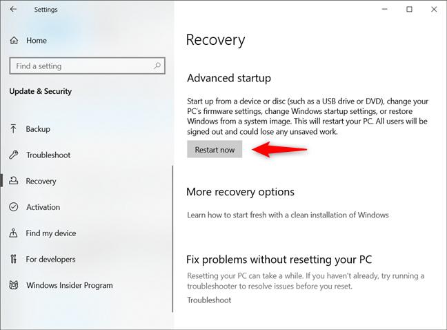 Advanced startup settings in Windows 10