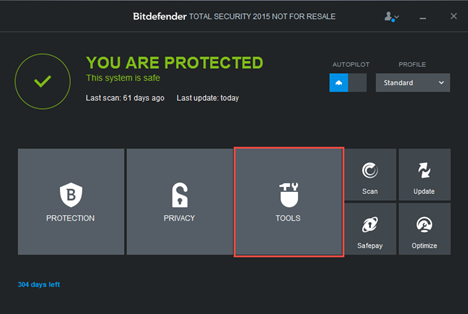 Bitdefender, OneClick Optimizer, clean up, temporary files, cookies, browsing history
