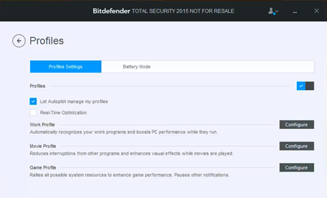 Bitdefender, profile, work, game, movie, configure