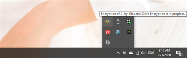 The BitLocker icon shown in the system tray