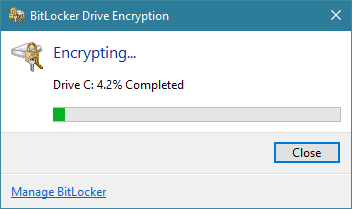The progress of the BitLocker encryption for the system partition
